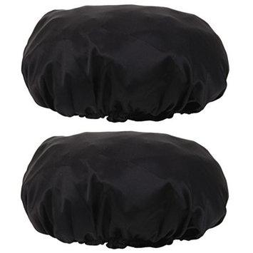 MonkeyJack 2pcs Pure Silk Sleeping Cap Sleep Hat Night Hair Care Bonnet Scarves Black