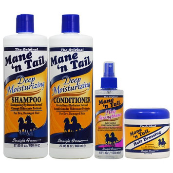 Mane 'n Tail Deep Moisturizing Shampoo + Conditioner 27.05oz + Hair Strengthener + Hair Dressing 4 pc Combo