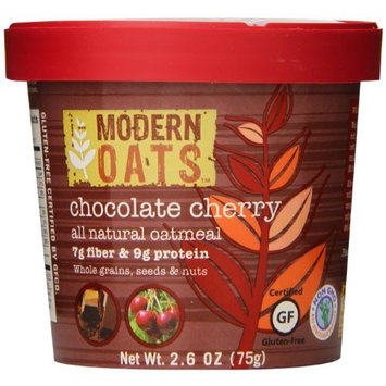 Modern Oats All Natural Oatmeal Cups, Chocolate Cherry, 2.6 Ounce (Pack of 12) Gluten Free, Non-GMO, Whole Grain, Vegan, and Kosher, Contains Tree Nuts, 7g Fiber & 9g Protein Per Cup