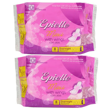 Epielle Maxi with Wings Feminine Care-Overnight-8ct (2 Pack)