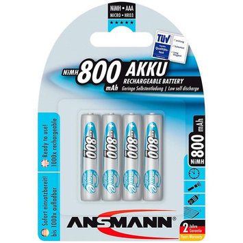 ANSMANN maxE AAA Rechargeable Batteries 800mAh Low Self Discharge (LSD) NiMH AAA Battery pre-charged for remote, phone etc. (4-Pack)
