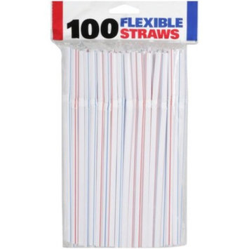 Flexible Assorted Striped Straws - 8 1/2
