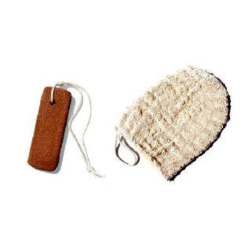 Terra Cotta Foot Scrubber Massager and Ayate Bath Mitt Body Scrub Skin Exfoliator