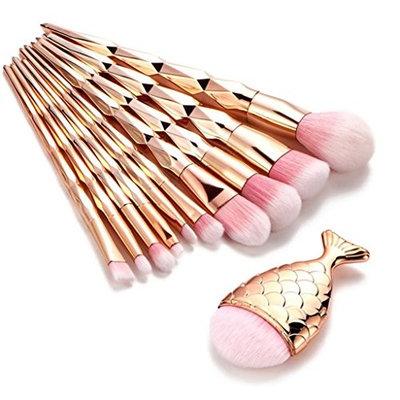 Kehen Mermaid Makeup Brushes Set Chubby Fish Foundation Brush With Box 11pcs Soft Nylon Bristles Beauty Make Up Kits Face Blush Concealer Eyebrow...