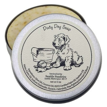 Seattle Sundries Dirty Dog Soap-100% Natural & Hand Made. Scented with Essential Oils. One 4 oz Shampoo Bar in a Convenient Travel Gift Tin. Great For Animal Pet Lovers.