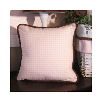 Brandee Danielle Pink Chocolate Pillow in Pink Gingham