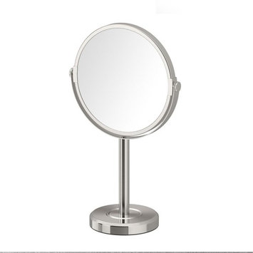 Gatco Latitude II Minimalist 12.5 in. Countertop 3x Magnification Makeup Mirror in Satin Nickel