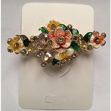 Enamel Painted Flowers and Jeweled Butterfly Metal Hair Claw on Dual Spring Gold Metal Clip