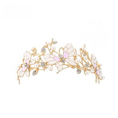 FF Butterfly Tiara for Girls Flower Hair Accessories for Prom