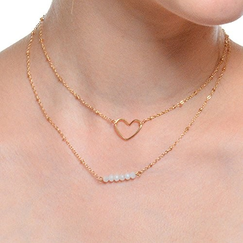 FXmimior Fashion Women 2 Tiers Heart Pendant Beads Necklace Jewelry for Girl Women