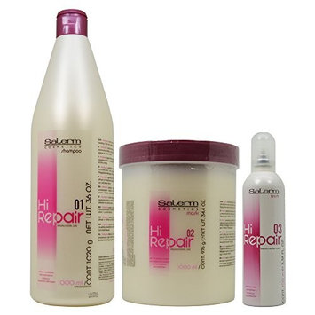 SALERM HI REPAIR LARGE TREATMENT KIT (Shampoo 36 oz, Mask 34.4 oz, Finish 3.36)