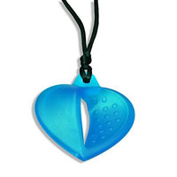 KidKusion Gummi Teething Necklace Heart, Turquoise