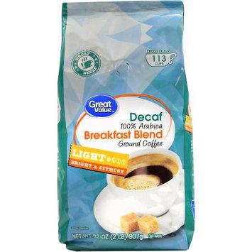 Great Value Decaf Breakfast Blend Ground Coffee, Light Roast, 32 oz