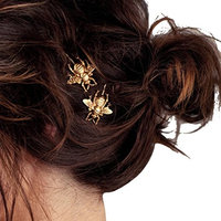 Phoenixb2c 2Pcs Women Girl Alloy Bee Hairpin Hair Clip Accessory
