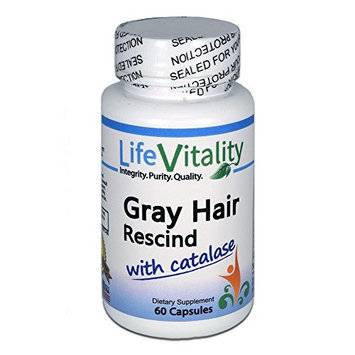 Gray Hair Rescind by Life Vitality Makes Gray Hair Go Away, 60 caps, Catalase, Saw Palmetto, More, Helps Stop, Prevent Gray Hair, Restores Natural Hair Color, Promotes Thick,...