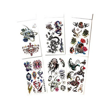 6 Packs Temporary Tattoo Book, Cool Animals Tattoos for Guys