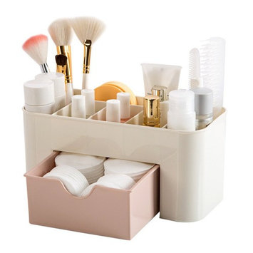 Plastic Bathroom Shower Makeup Skincare Organizer Case Wall-mounted Basket Holder With Drawer (B)