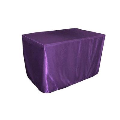 LA Linen TCbridal-fit-48x30x30-PurpleB23 Fitted Bridal Satin Tablecloth Purple - 48 x 30 x 30 in.