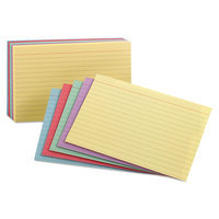 Oxford Ruled Index Cards, 3 x 5, Assorted Colors, 100/Pack