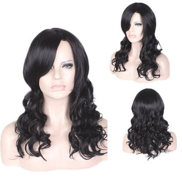 Curly Wig by YaRui Medium Length Body Wave Side Bangs Heat Resistant Wigs for Women Black 22 Inches