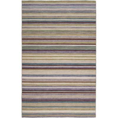 5' x 8' Stratum Wine, Violet and Tan Striped Hand Woven Wool Area Throw Rug