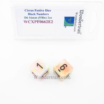 Wondertrail Products Circus Festive Dice with Black Numbers D6 Aprox 16mm (5/8in) Pack of 2 Wondertrail