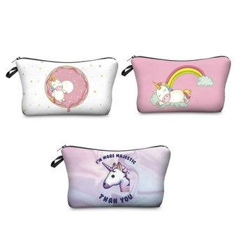 Zohra Women's Unicorn 3D Printing Cosmetic Bag Travel Makeup Case Pencil Holder 3Pcs/Set
