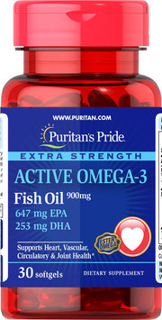 Puritan's Pride Extra Strength Active Omega-3 Fish Oil-30 Softgels