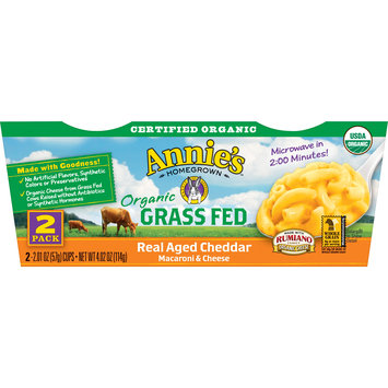 Annie's Homegrown Organic Grass Fed Real Aged Cheddar Macaroni and Cheese Microwavable Cup 2 Pack