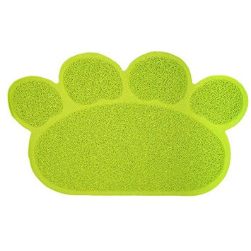 Cat Litter Trapping Mats. For Cat Litter Boxes [Paw Print - Lime]
