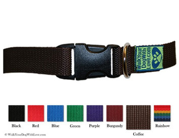 Walk Your Dog With Love Colorful Quality Dog Collars, Original Edition, Sizes For Any Dog, Coffee Bean