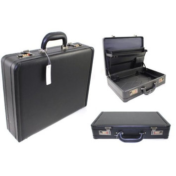 EXTRA LARGE ATTACHE EXECUTIVE BUSINESS FAUX LEATHER TRAVEL HARD CASE BRIEFCASE AD23