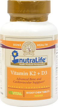 Nutralife Health Products Vitamin K2 + D3 60 Chwbls