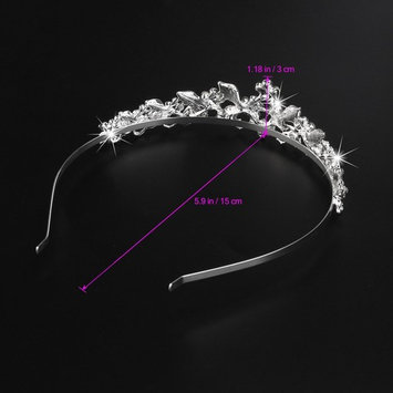 Tinksky Beautiful Wedding Bridal Shining Crystal Rhinestones Crown Tiara Headband Hair Band with Comb (Silver)