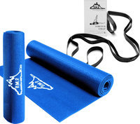 Black Mountain Products Yoga Starter Kit including Blue Yoga Mat and Black Yoga Stretch Strap-1 Kit