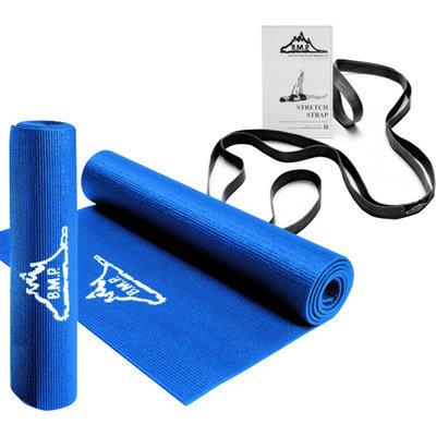 Black Mountain Products Yoga Starter Kit including Blue Yoga Mat and Black Yoga Stretch Strap-1 Kit