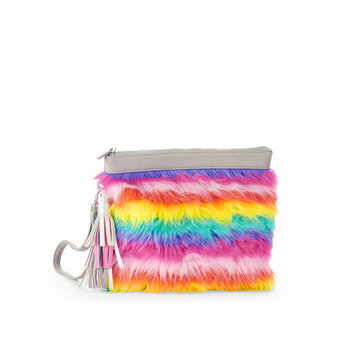 No Boundaries Rainbow Fur Wristlet Pouch