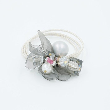 YoTruth Thick Hair Ties For Women and Girls, Gray Hair Accessories with Bright White Sexy Pearl, Gray Hair Ties in flower shape