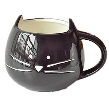 Moyishi Lovely Cute Little Black Cat Coffee Milk Ceramic Mug Cup Christmas Birthday Best Gift