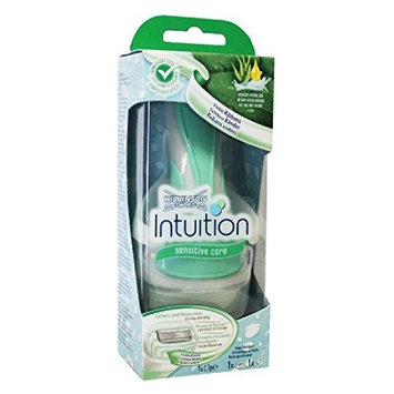 Wilkinson by Schick Intuition Sensitive Care Razor with 1 Refill Cartridge and Shower Hanger + FREE Luxury Luffa Loofah Bath Sponge On A Rope, Color May Vary