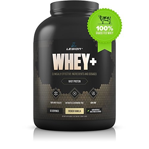 Legion Whey+ Vanilla Whey Isolate Protein Powder from Grass Fed Cows, 5lb. Low Carb, Low Calorie, Non-GMO, Lactose Free, Gluten Free, Sugar Free. Great For Weight Loss & Bodybuilding. [Vanilla]