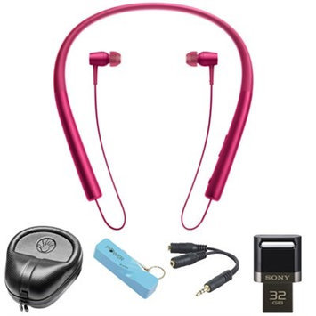 Sony Wireless In-ear Bluetooth Headphones w/ NFC - Pink w/ 32GB Flash Drive Bundle