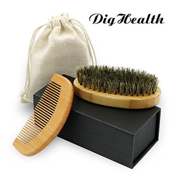 DigHealth Beard Brush Kit with Wooden Comb-Natural Boar Bristle Beard Brush Set for Shaping, Grooming & Styling, with Gift Box and Carrying Cotton Bag
