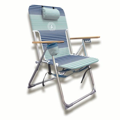 Chaby Intl Caribbean Joe High Weight Capacity Deluxe Beach Chair, four position. With shoulder straps, cup holder, pillow head rests, and 300lb weight capacity
