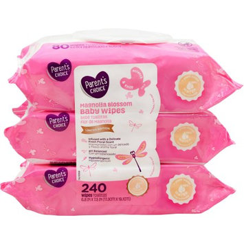 Rockline Industries Parent's Choice Magnolia Blossom Baby Wipes, Limited Edition, 240 count (3 packs of 80)