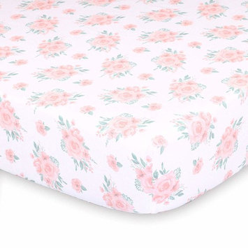Pink Watercolor Floral Fitted Baby Girl Crib Sheet - Farmhouse Collection by The Peanut Shell