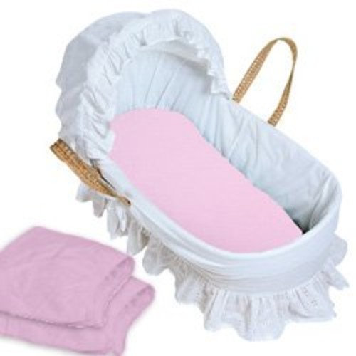 aBaby Flannel Fitted Bassinet Sheet 2 Piece Set, Pink