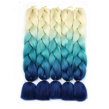 XtrendHair 3 Tone Jumbo Ombre Braiding Hair 5pcs Multicolor Synthetic Crochet Braids Hair for Women 24 Inch (54#, 5pcs/Lot)