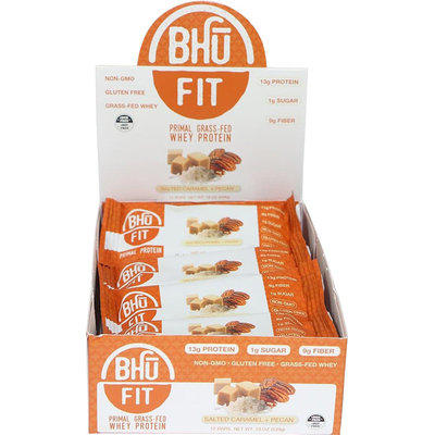 Bhu Fit Primal Grass Fed Whey Protein Bar Salted Caramel Pecan-12 Bars