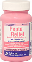 Advanced Pharmaceutical Inc. Pepto Relief (Bismuth Subsalicylate) 262 mg -30 Tablets